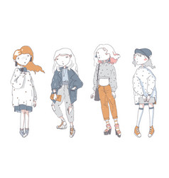 Hipster cute girls in casual clothes hand drawn vector