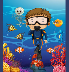 man scuba diving under the ocean vector image vector image