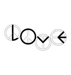Peace sign making the word love vector