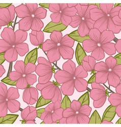Seamless background with flowering tree branches vector image