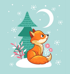 the fox sits in a snowy glade near the tree vector image