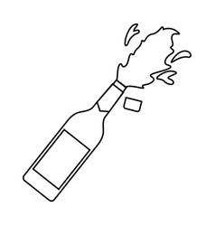 champagne bottle explosion drink celebration vector image
