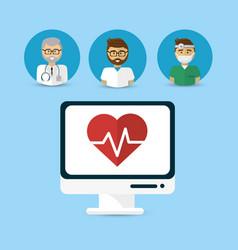 Hospital doctors computer icon image vector