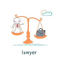 lawyer is on the scales with a suitcase vector image vector image
