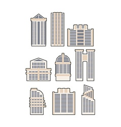 Set skyscrapers and buildings icon urban house vector