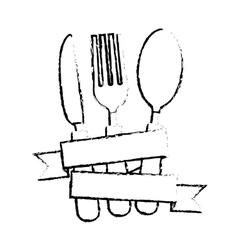silverware with ribbon vector image vector image