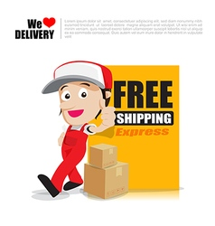 Smile delivery man thumb up with text sign free vector image vector image