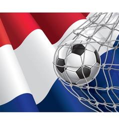 Soccer goal and Netherlands flag vector image