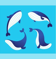 whale - modern set of flat vector image vector image