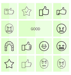 14 good icons vector image