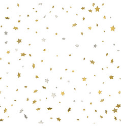 3d gold star confetti rain festive holiday vector