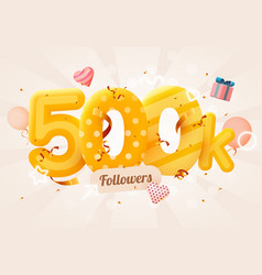 500k or 500000 followers thank you pink heart vector