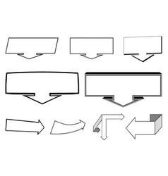 A set of 2d and 3d arrows elements vector