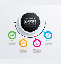 abstract 4 circle infographics number options vector image