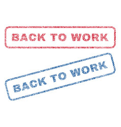 Back to work textile stamps vector