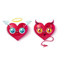 Bad and good hearts vector