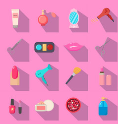 beauty salon set of cartoon icons black vector image