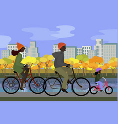 Black family in park riding bicycles in autumn vector