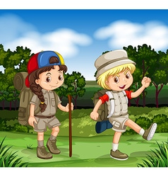 Boy and girl hiking in the park vector