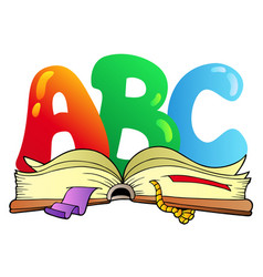 Cartoon abc letters with open book vector