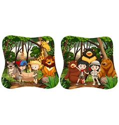 Children and wild animals in jungle vector
