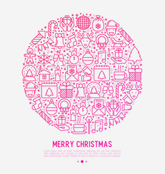 christmas celebration concept in circle vector image