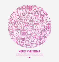 Christmas celebration concept in circle vector