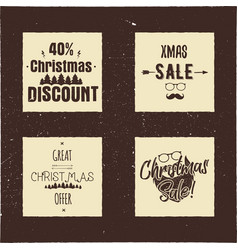christmas sale and discount typography cards with vector image