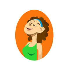 closeup with portrait of smiling fitness girl with vector image