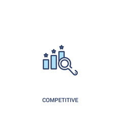 Competitive concept 2 colored icon simple line vector