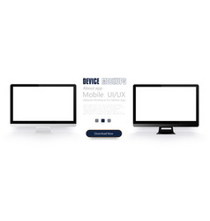 computer monitor mockup with blank white screen vector image