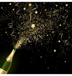 Congratulatory Champagne with Gold Confetti vector
