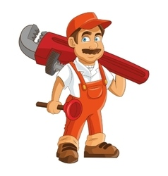 Construction or industrial worker holding pipe vector