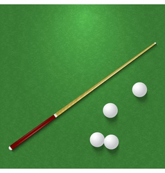 Cue and balls on the pool table vector image