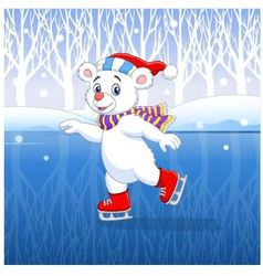 Cute cartoon polar bear ice skating with winter vector image