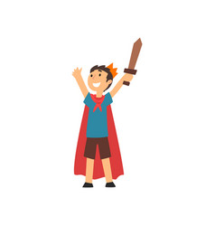 cute smiling boy in costume knight cartoon vector image