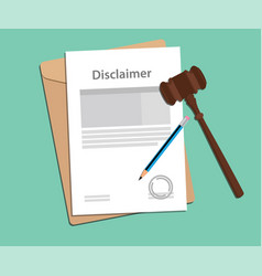 Disclaimer agreement stamped with folder document vector
