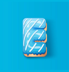 Donut icing blue upper latters - e font donuts vector