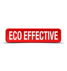 Eco effective red 3d square button isolated on vector