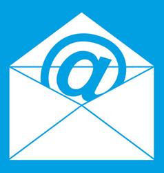 Envelope with email sign icon white vector