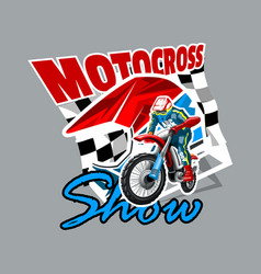 Extreme red off road motorbike motocross show vector