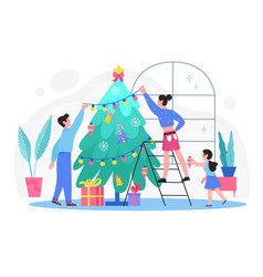 Family people decorate christmas tree with balls vector