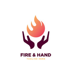 fire and hand logo vector image