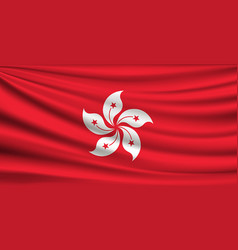 flag hong kong fabric red background vector image