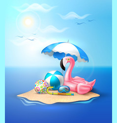 flamingo inflatable pool ring on beach vector image