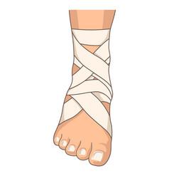 foot bandage ankle stretching bandaging isolated vector image