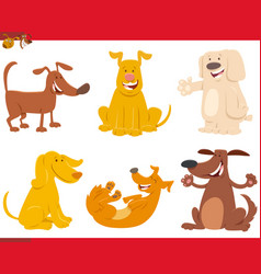 funny dogs or puppies cartoon characters set vector image