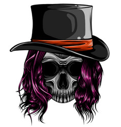gangster skull tattoo death head with cigar and vector image