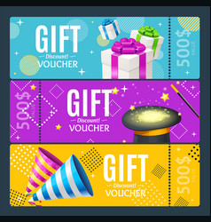 Gift voucher card set template monetary value vector