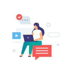 girl sitting on internet laptop icon vector image